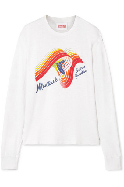 Solid & Striped - Re/done The Montauk Printed Slub Cotton-jersey Top - White