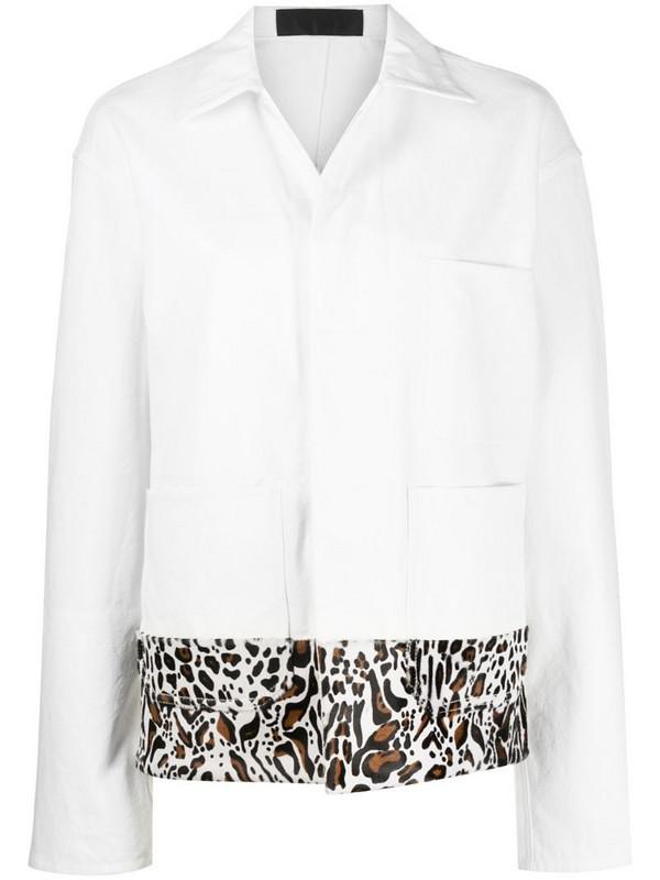 Haider Ackermann leopard print pony hair oversized jacket in white
