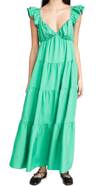 ENGLISH FACTORY Ruffle Sleeve Maxi Dress in green