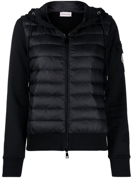 Moncler padded front hooded cardi-coat in black