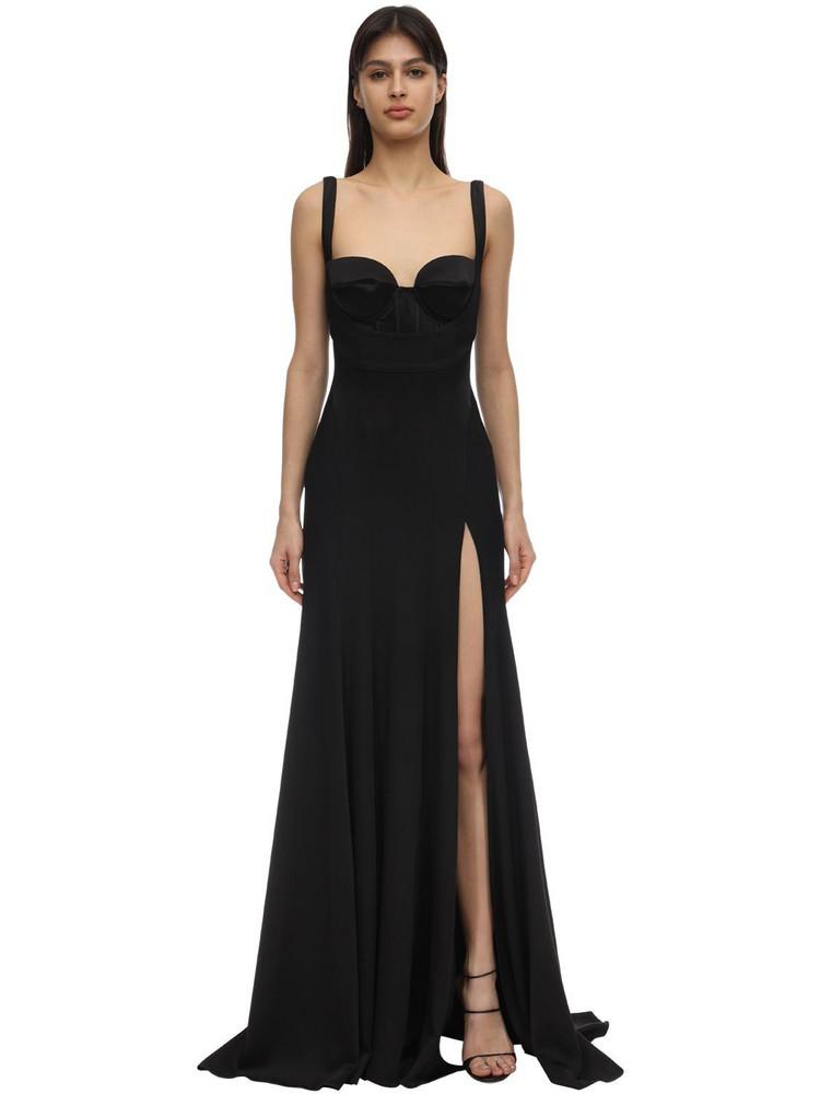 MUGLER Crepe Satin Bustier Dress in black