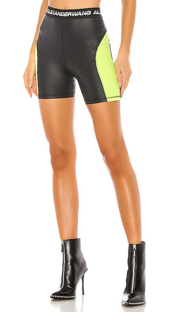 T by Alexander Wang Wash & Go Satin Jersey Biker Shorts in Black