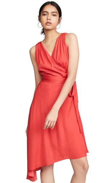 Edition10 V Neck Wrap Dress in tomato