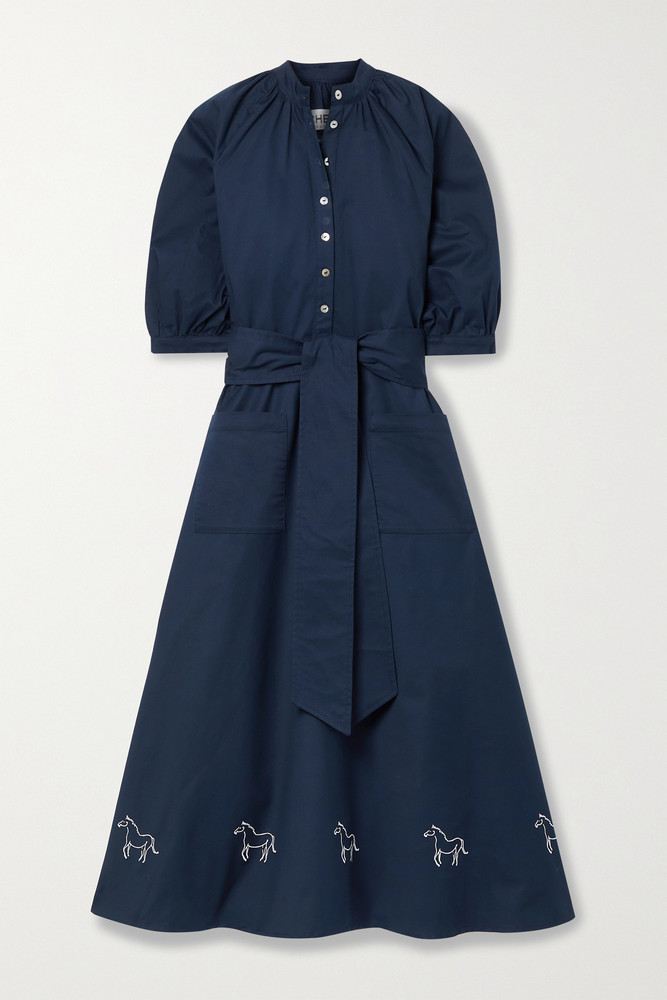 ÀCHEVAL PAMPA ÀCHEVAL PAMPA - + Net Sustain Argentina Belted Embroidered Cotton-blend Midi Dress - Blue