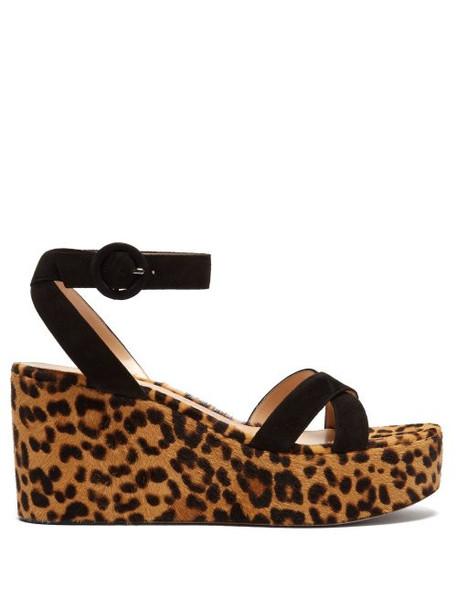 Gianvito Rossi - Leopard Print Calf Hair Platform Sandals - Womens - Leopard