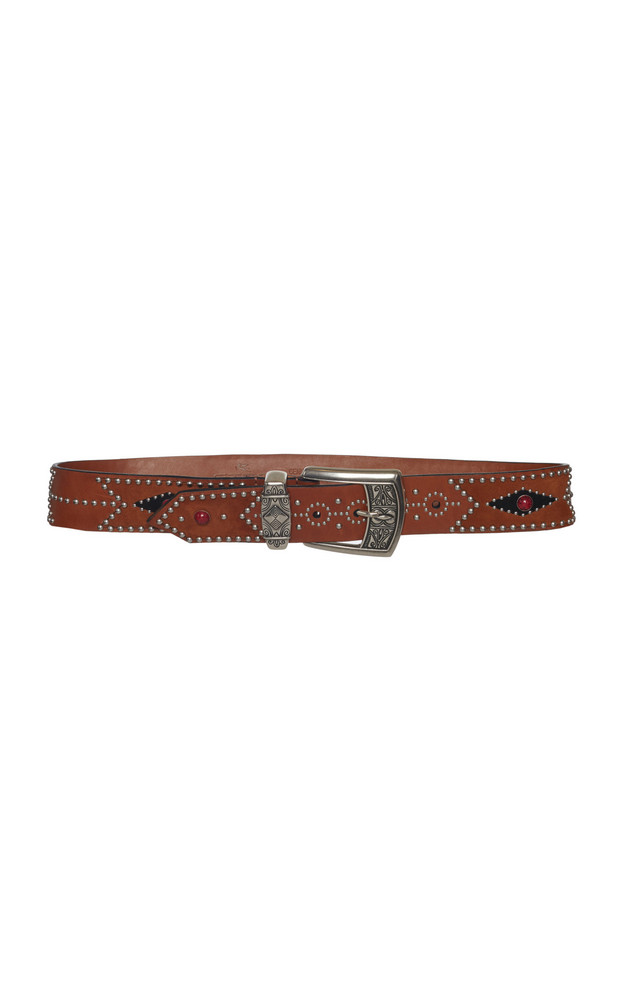 Etro Studded Leather Belt in brown