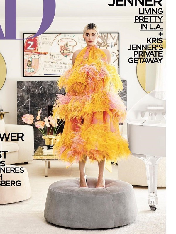 dress yellow orange editorial kylie jenner kardashians feathers feather dress