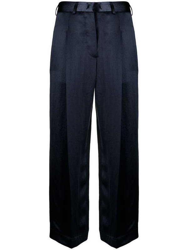 Jejia satin-finish tailored trousers in blue