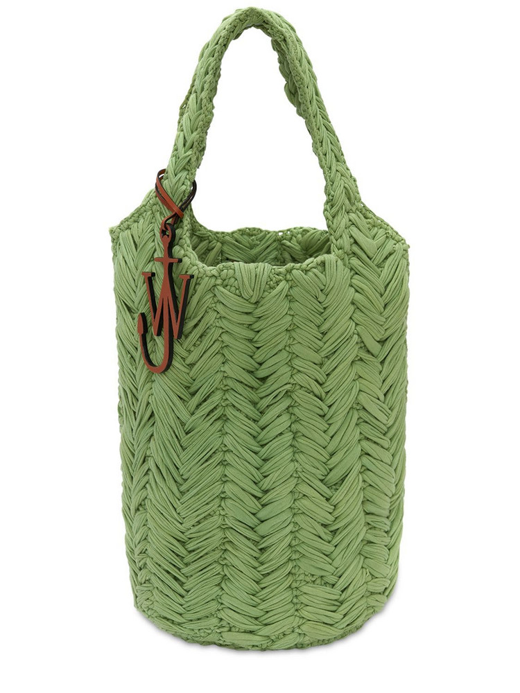 JW ANDERSON Knitted Organic Cotton Tote Bag in green