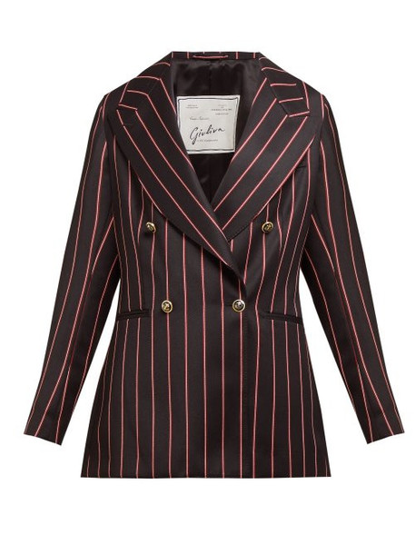 Giuliva Heritage Collection - The Stella Double Breasted Striped Wool Blazer - Womens - Black Multi