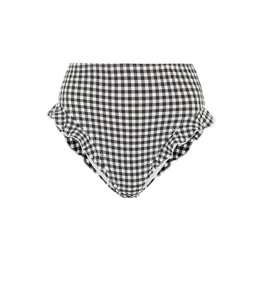 Solid & Striped Lana high-rise gingham bikini bottoms in black