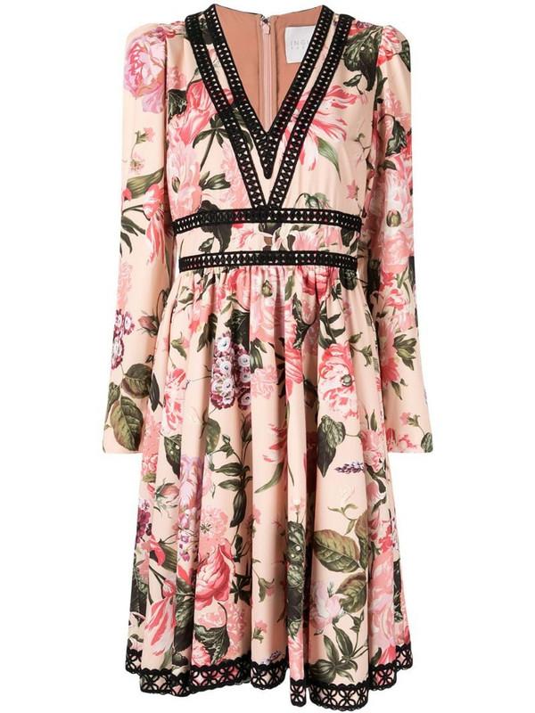 Ingie Paris floral flared midi dress in pink