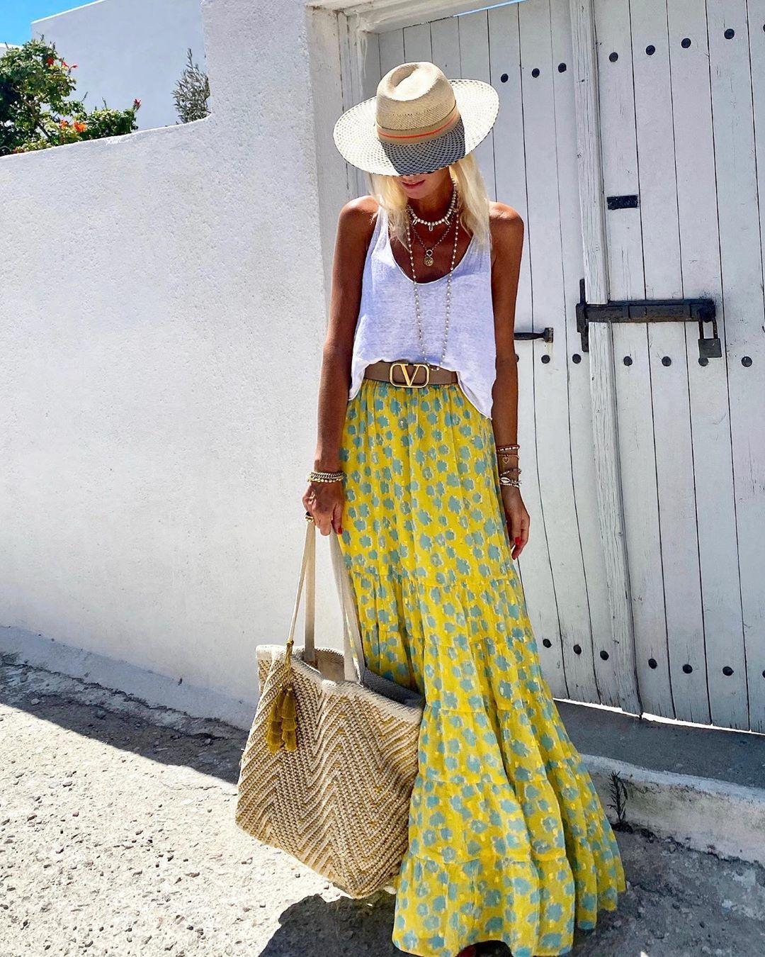 skirt maxi dress floral skirt bag white top hat