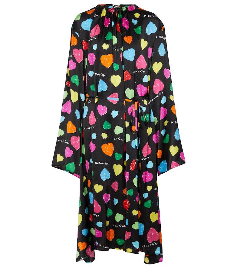 Balenciaga Archive Hearts printed silk midi dress in black
