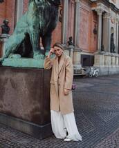 coat,long coat,wool coat,stella mccartney,white dress,maxi dress,white shoes,bag,crossbody bag