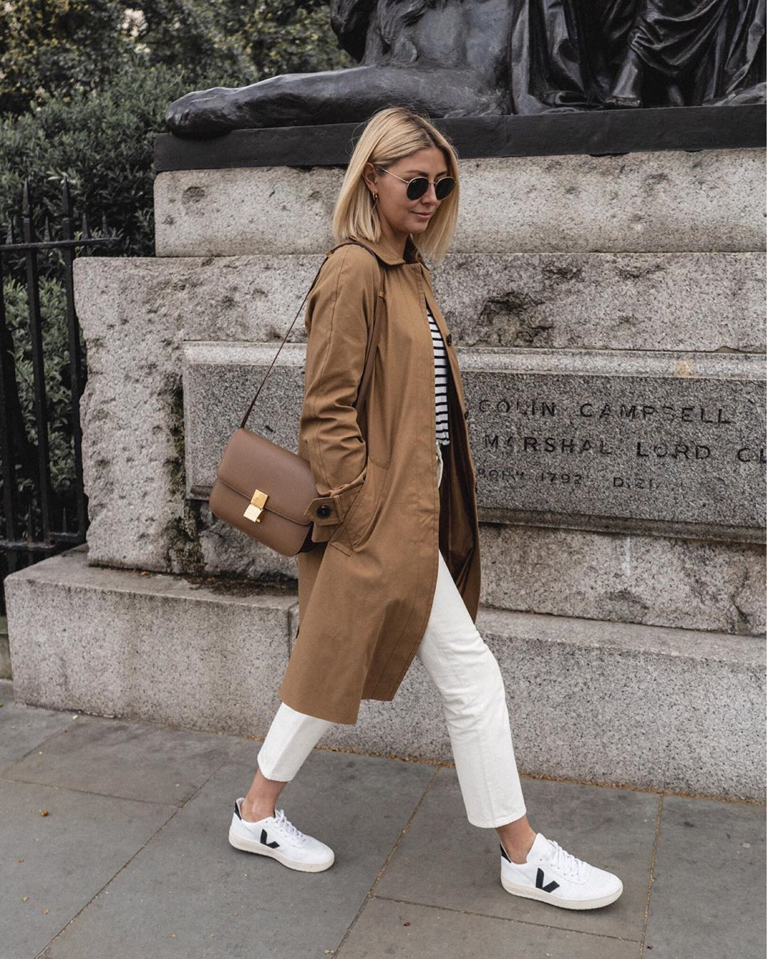 coat trench coat long coat asos white jeans straight jeans brown bag striped top white sneakers
