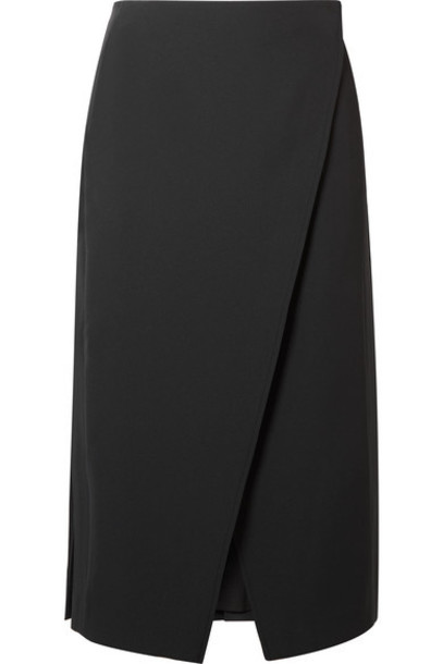 Beaufille - Kari Pleated Twill Wrap Skirt - Black