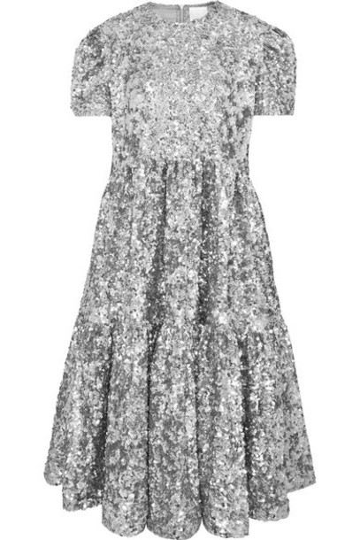 Ashish - Ufo Oversized Tiered Sequined Tulle Midi Dress - Silver