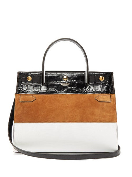 Burberry - Title Small Suede Panelled Leather Bag - Womens - Tan White
