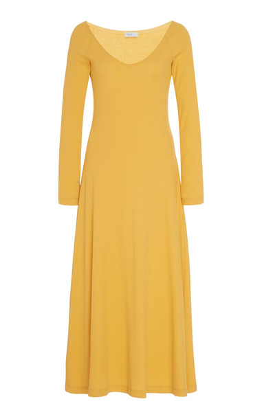 Rosetta Getty V-Neck Cotton Dress Size: XS in gold