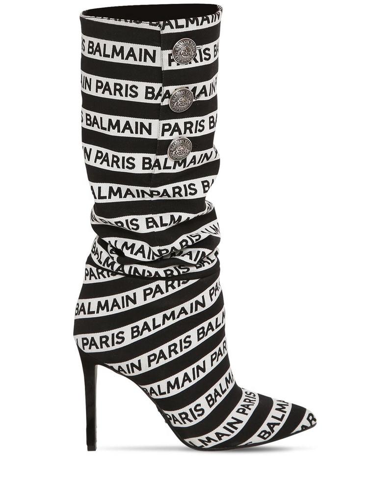 BALMAIN 95mm Jane Logo Slouchy Fabric Boots in black / white