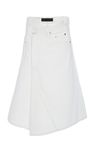 Proenza Schouler Asymmetric Denim Midi Skirt Size: 8 in white