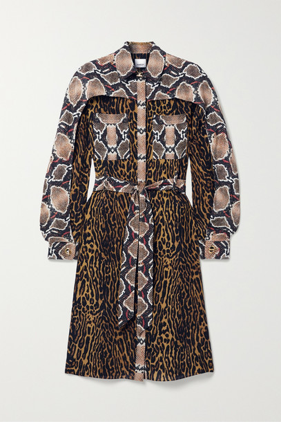 BURBERRY - Belted Animal-print Silk-crepe Dress - Animal print