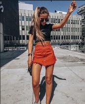 skirt,frayed denim skirt,frayed skirt,high waisted skirt,skirt with zipper,skater skirt,orange skirt,red skirt,distressed skirt,ripped,ripped skirt,orange