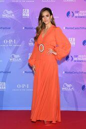 dress,maxi dress,celebrity,celebrity style,jessica alba,long sleeve dress