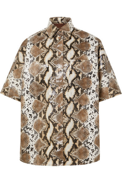Pushbutton - Snake-effect Faux Leather Shirt - Snake print