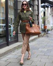 jacket,army green jacket,cropped pants,straight pants,brown bag