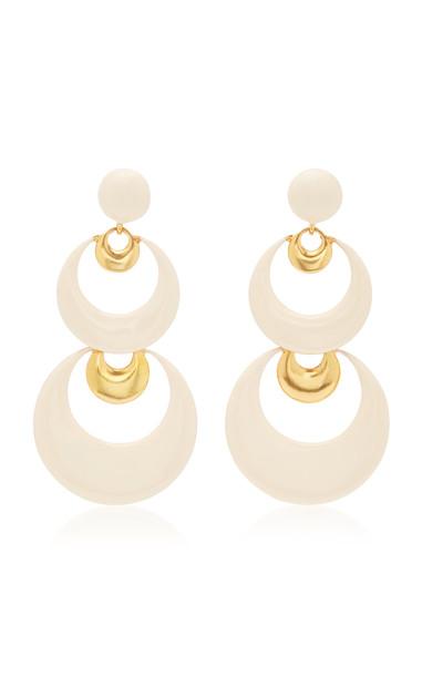 Oscar de la Renta Crescent-Shaped Brass And Resin Drop Earrings in white