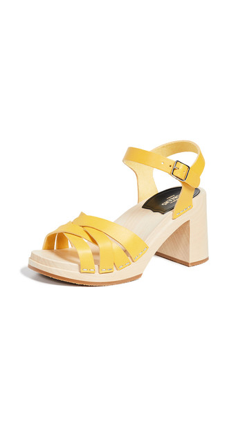 Swedish Hasbeens Elsie Ankle Strap Clogs in yellow