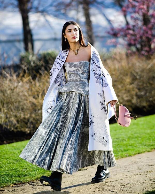bag dior bag pink bag maxi skirt pleated skirt corset long coat white coat floral coat black boots combat boots