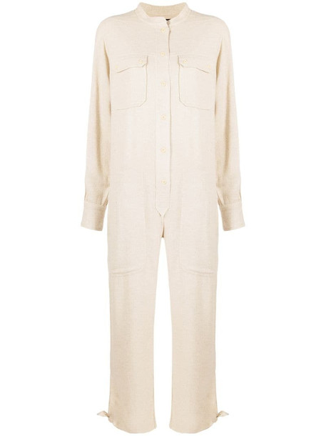Isabel Marant long-sleeve collarless jumpsuit in neutrals