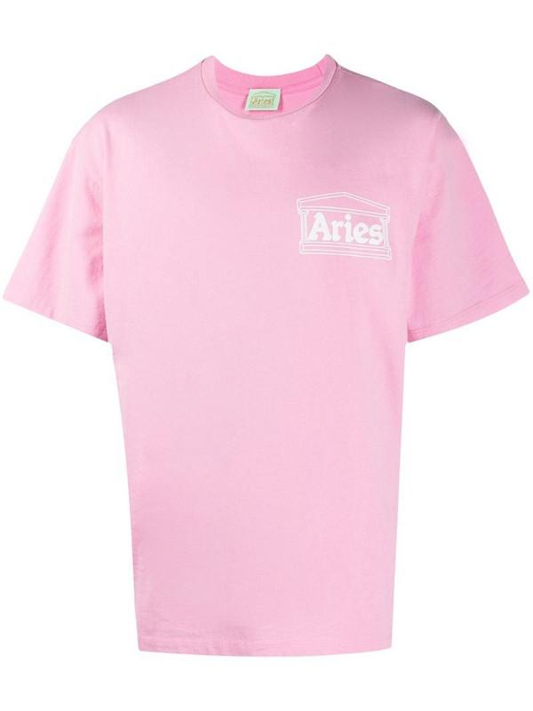 Aries logo-print cotton t-shirt in pink