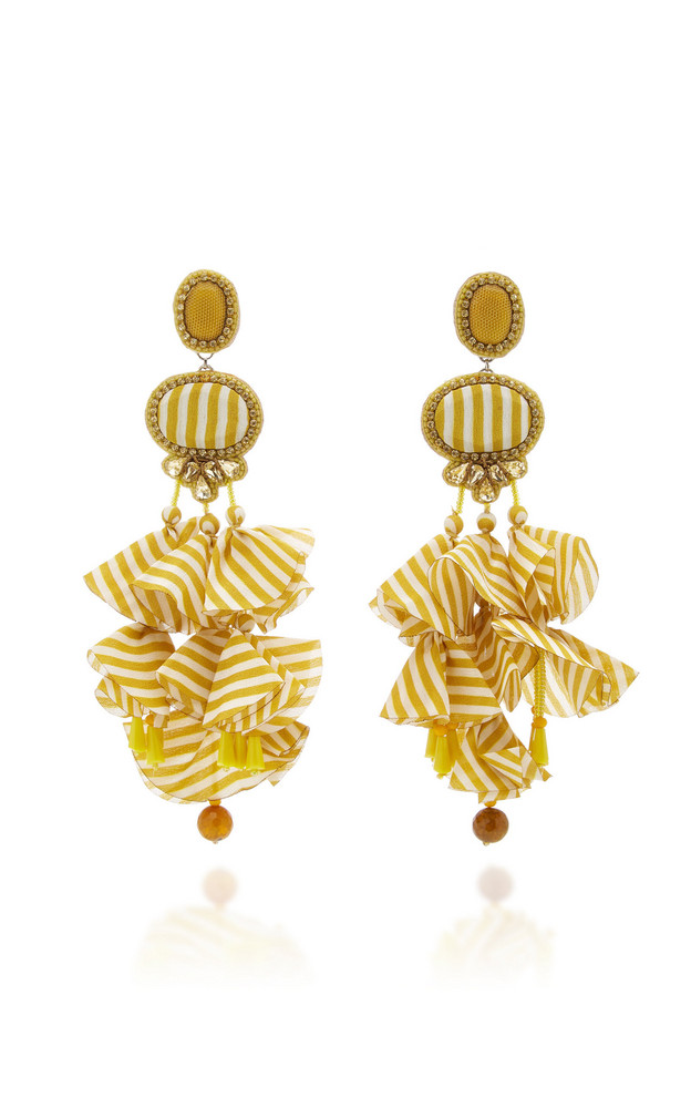 Ranjana Khan Gingham 14K Gold-Plated Crystal and Resin Earrings in yellow