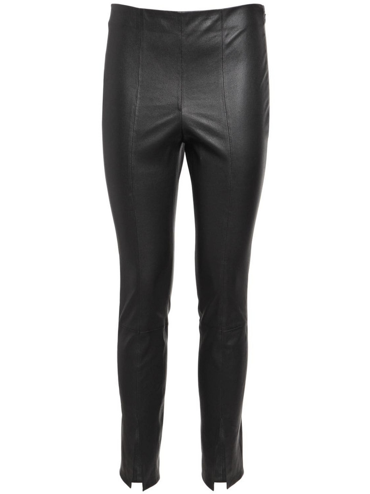 THEORY Leather Leggings W/ Slits in black