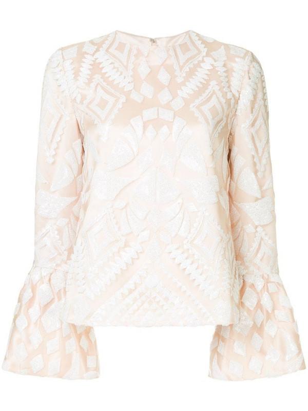 Huishan Zhang geometric pattern blouse in neutrals
