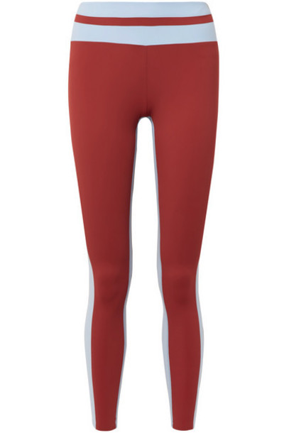 Vaara - Flo Tuxedo Striped Stretch Leggings - Brick