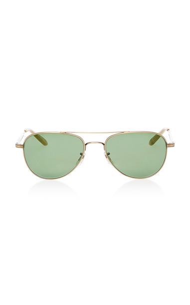 Garrett Leight Exclusive Linnie M51 Aviator Sunglasses in gold