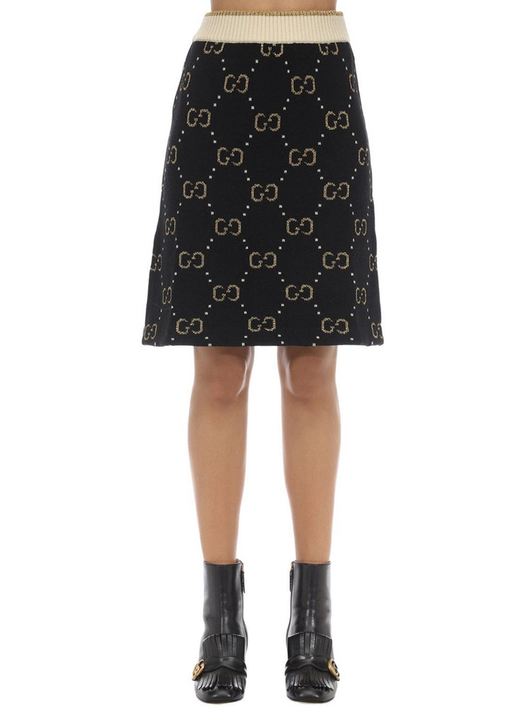 GUCCI Gg Intarsia Wool Blend Knit Skirt in black / gold