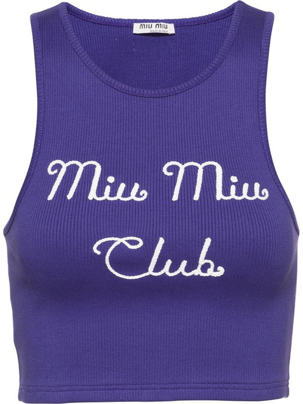 embroidered Miu Miu Club ribbed top in purple