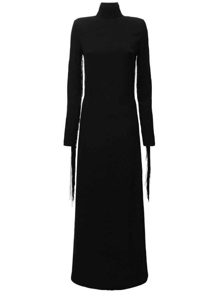 ROTATE Reba Recycled Viscose Dress W/fringes in black