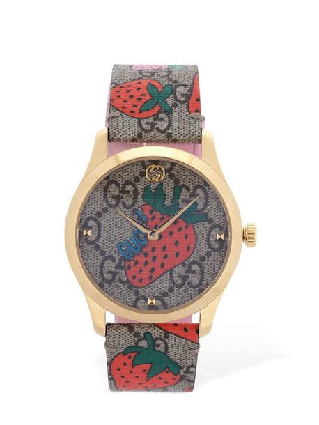 GUCCI Supreme Strawberry Watch in brown / multi