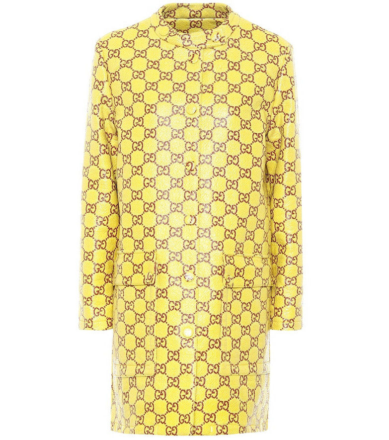 Gucci GG coated tweed coat in yellow