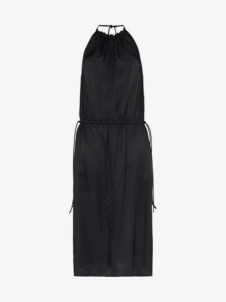 Helmut Lang halterneck gathered dress in black