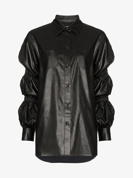 pushBUTTON Ruched Sleeve Collared Shirt in black