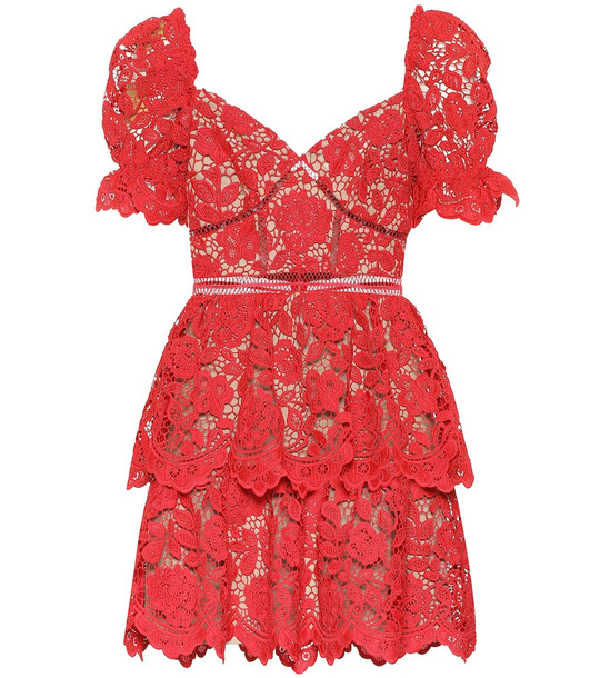 Self-Portrait Floral-lace minidress in red