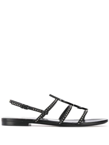 Saint Laurent Cassandra monogram sandals in black